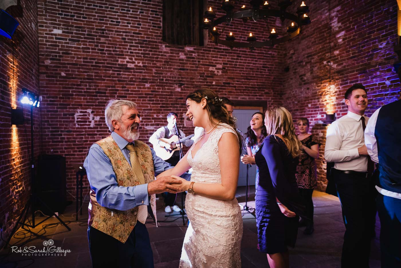 Wedding guests dancing at Hazel Gap Barn