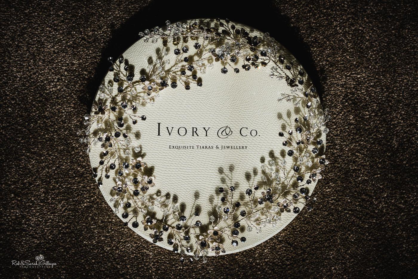 Close-up of Ivory & Co bridal tiara