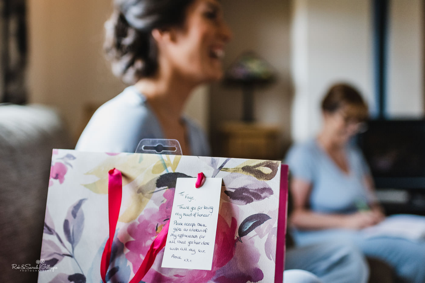 Bridesmaid gifts in decorative bag