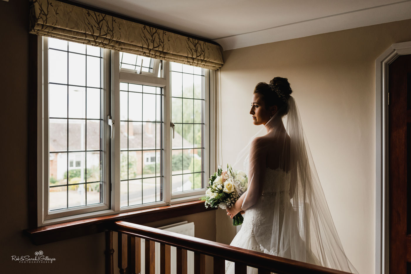 Portrait of bride in window light