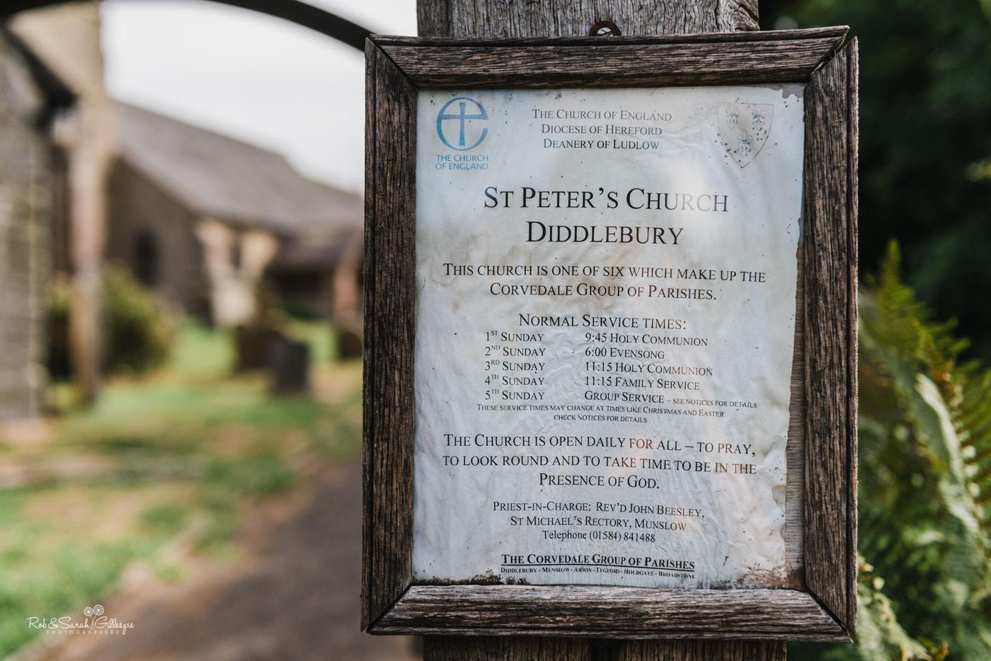 St Peter's Church Diddlebury near Delbury Hall
