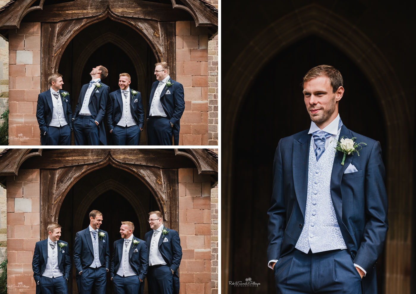 Groom and groomsmen portrait at St Peter's Church in Diddlebury
