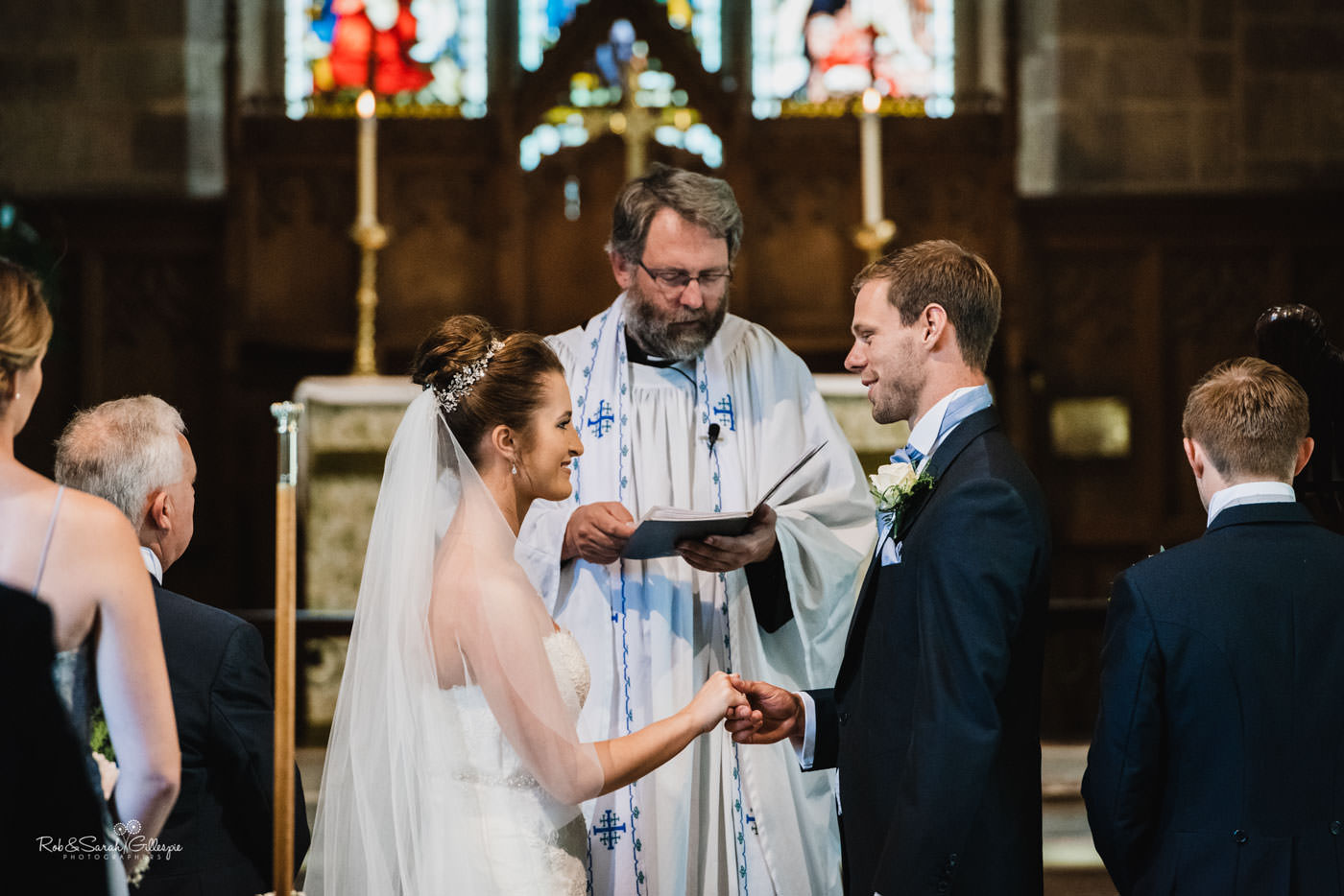 Wedding ceremony at St Peter's Church in Diddlebury, Shropshire