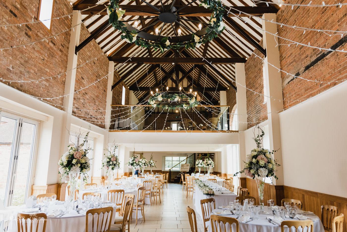 Delbury Hall set up for wedding breakfast