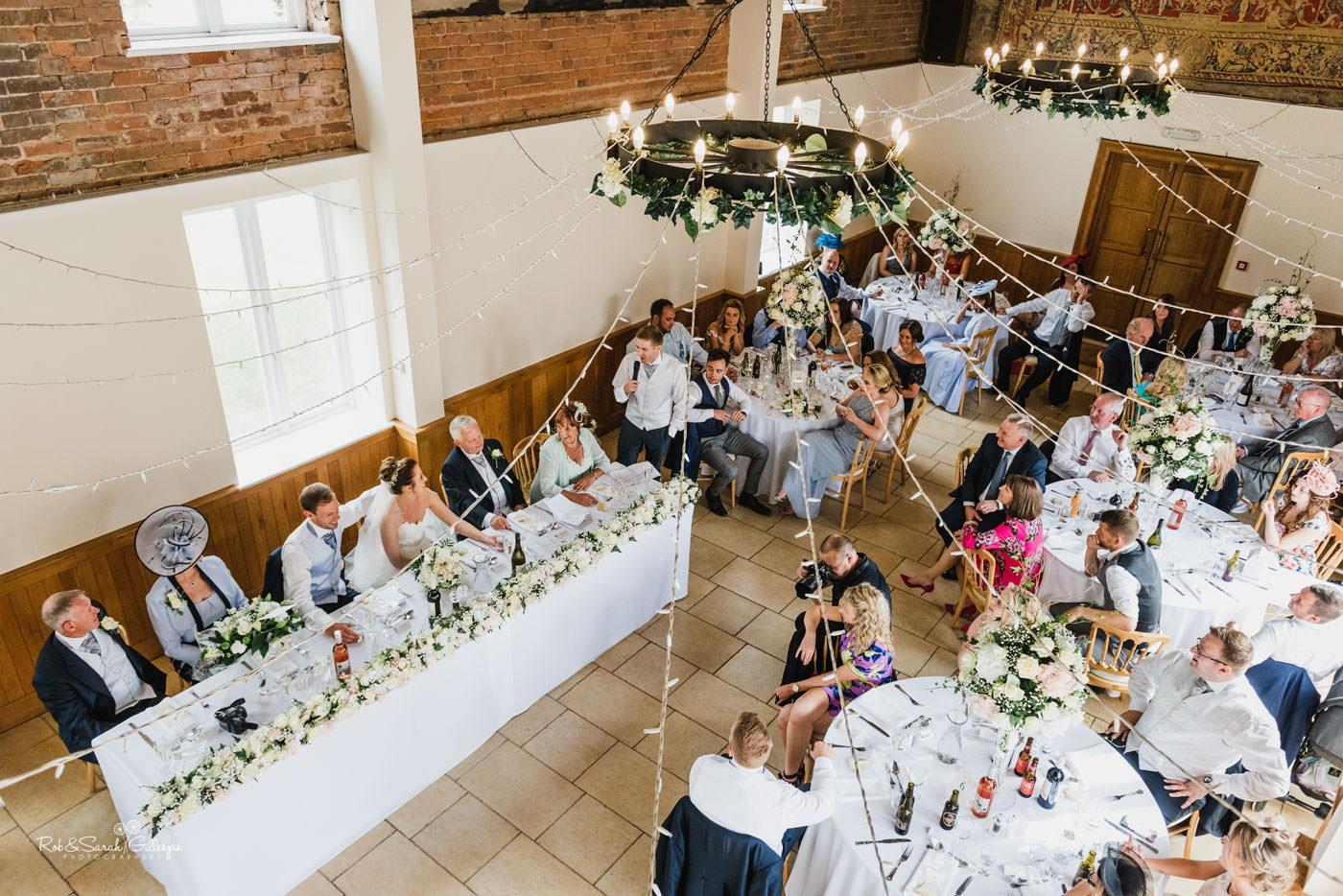 Wedding speeches at Delbury Hall in Shropshire