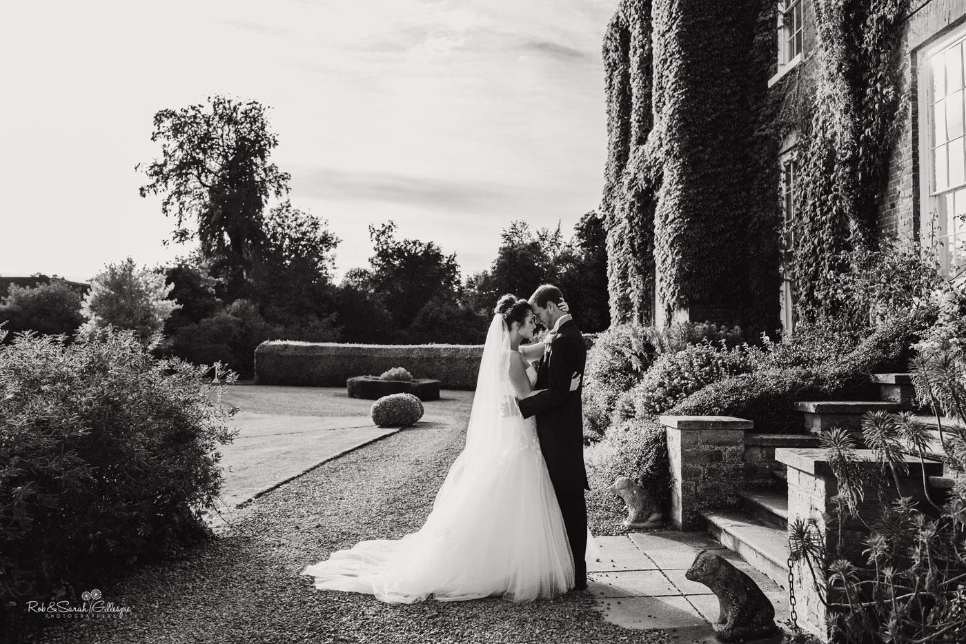 Bride and groom couple photos at Delbury Hall