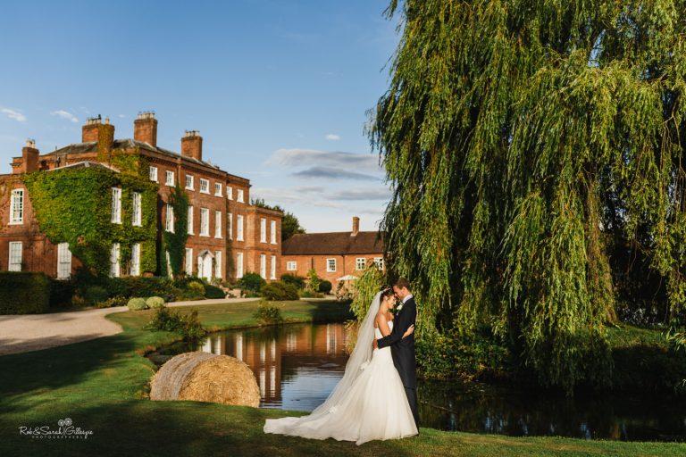 Bride & groom at Delbury Hall in Shropshire