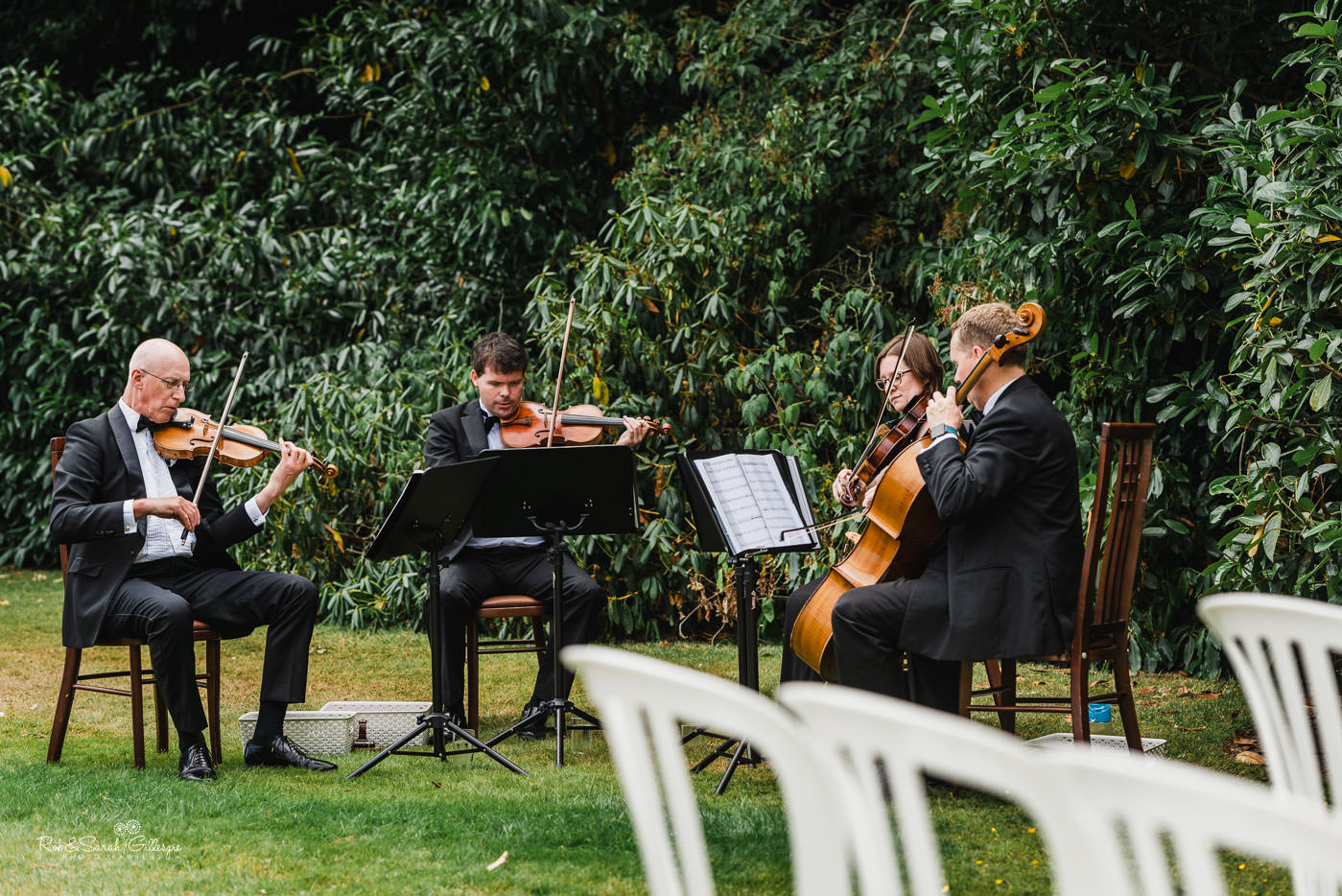 String quartet play at Pendrell Hall outdoor wedding