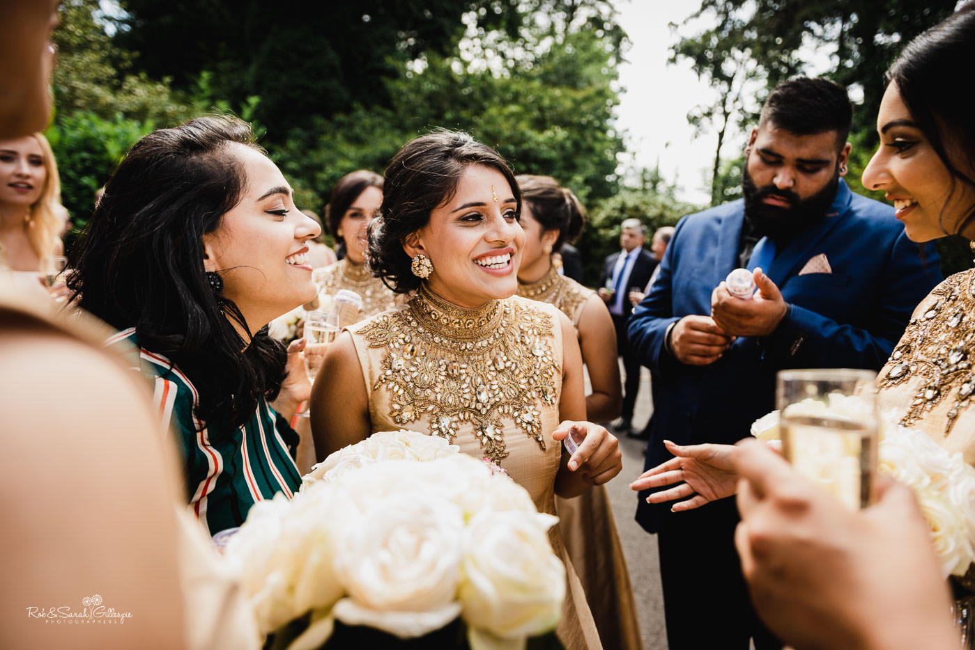 Wedding guests enjoy drinks reception at Pendrell Hall