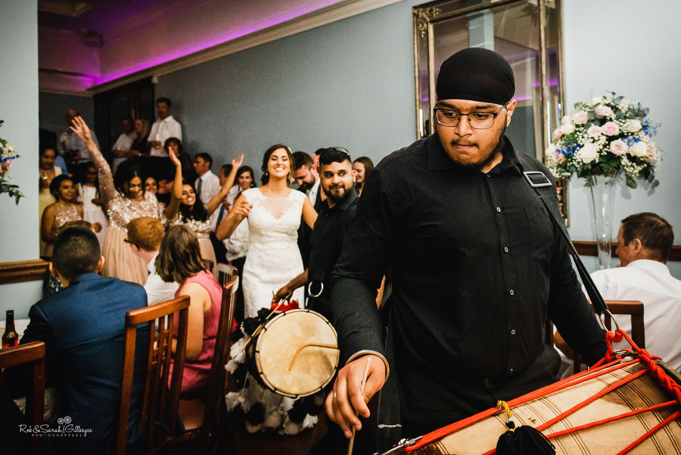 Indian Dhol drums at Pendrell Hall fusion wedding