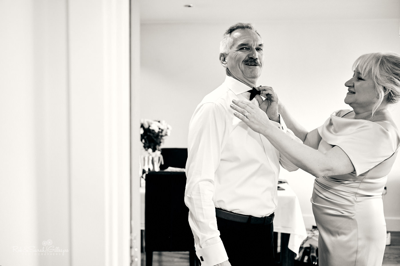 Bridesmaid and brides parents prepare for wedding in Birmingham