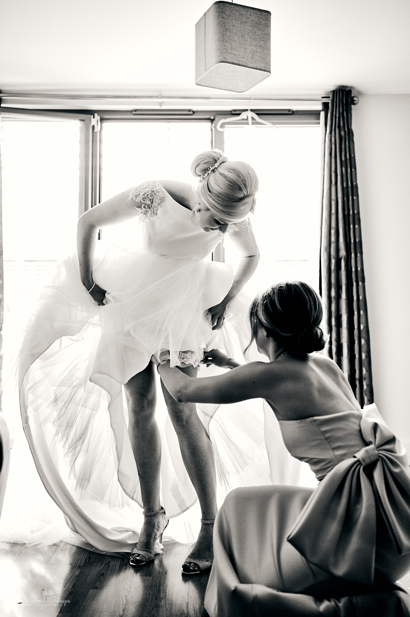 Bride gets ready for wedding