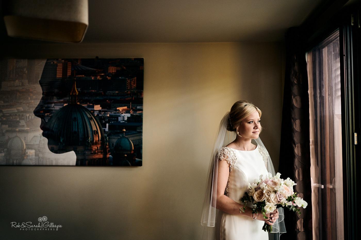 Bride portrait in beautiful window light