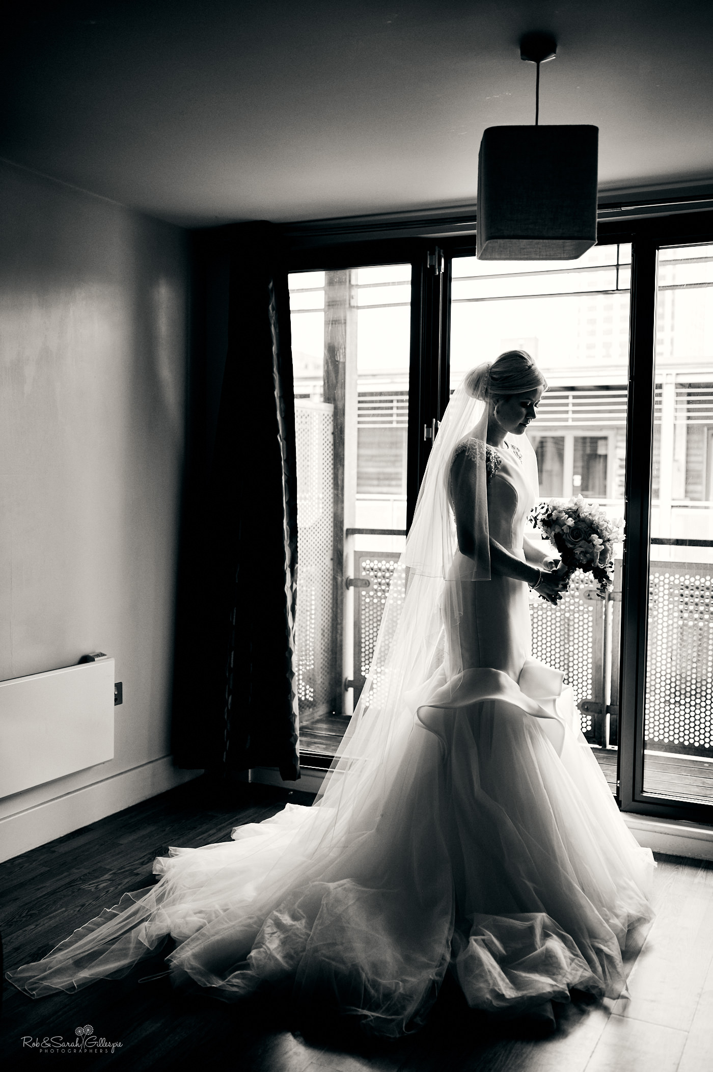 Bride silhouette in beautiful window light