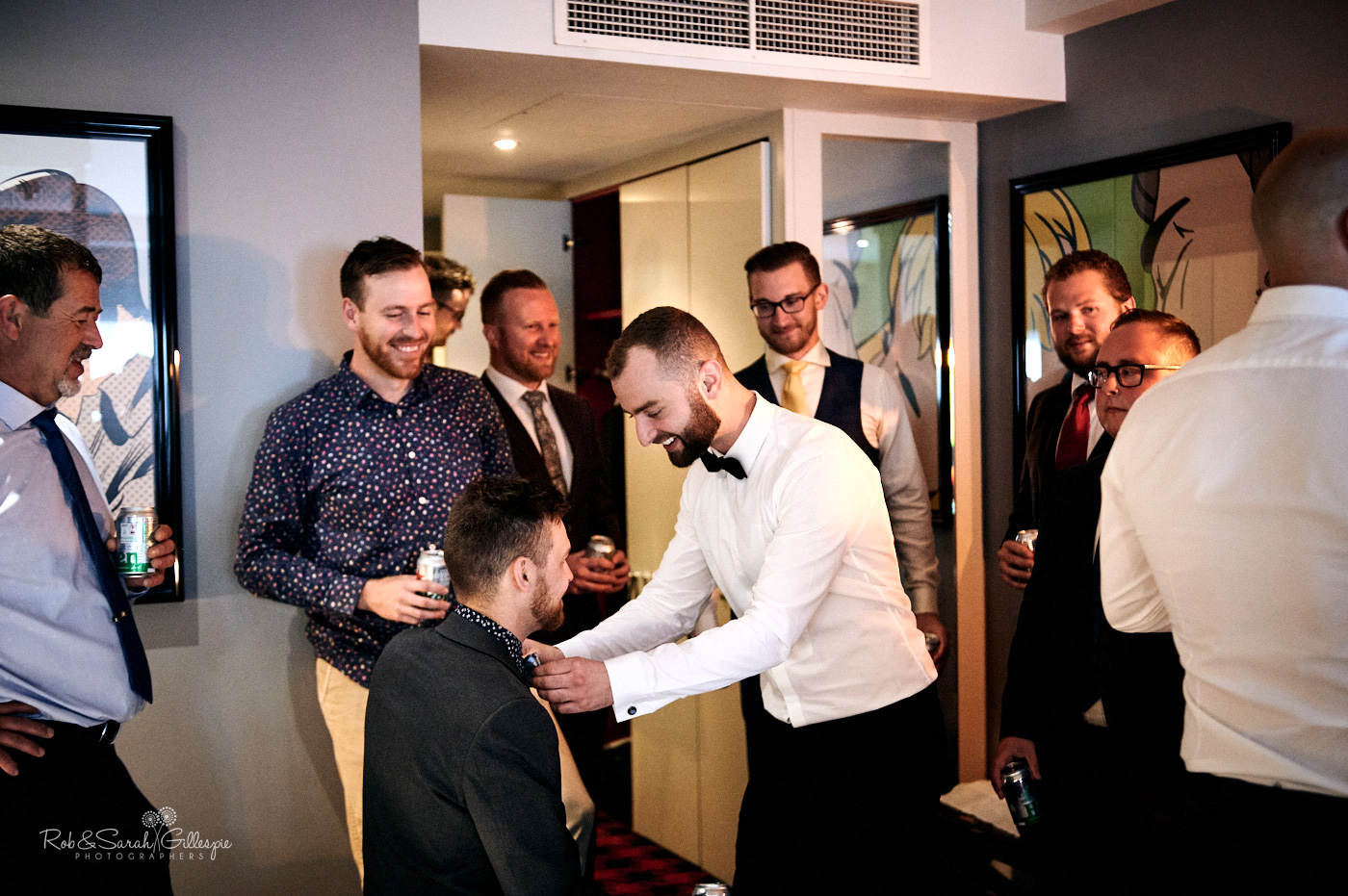 Groom prepares for wedding with friends and family in Malmaison Birmingham