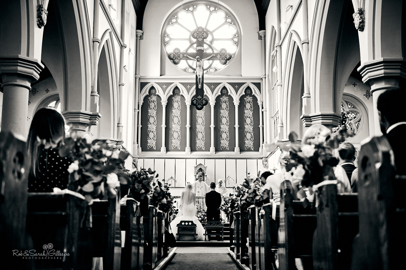 Wedding ceremony at St Anne's Roman Catholic church in Birmingham