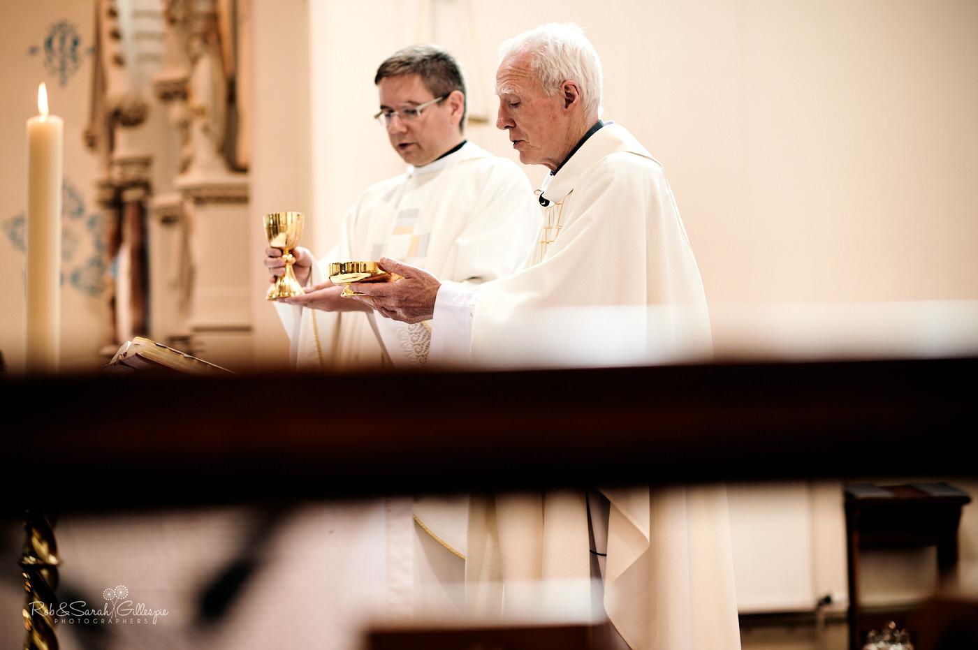 Catholic wedding ceremony at St Anne's church in Birmingham