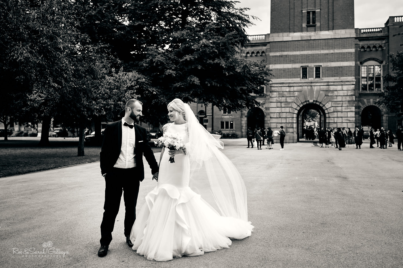 Bride and groom wedding photos inside Birmingham University