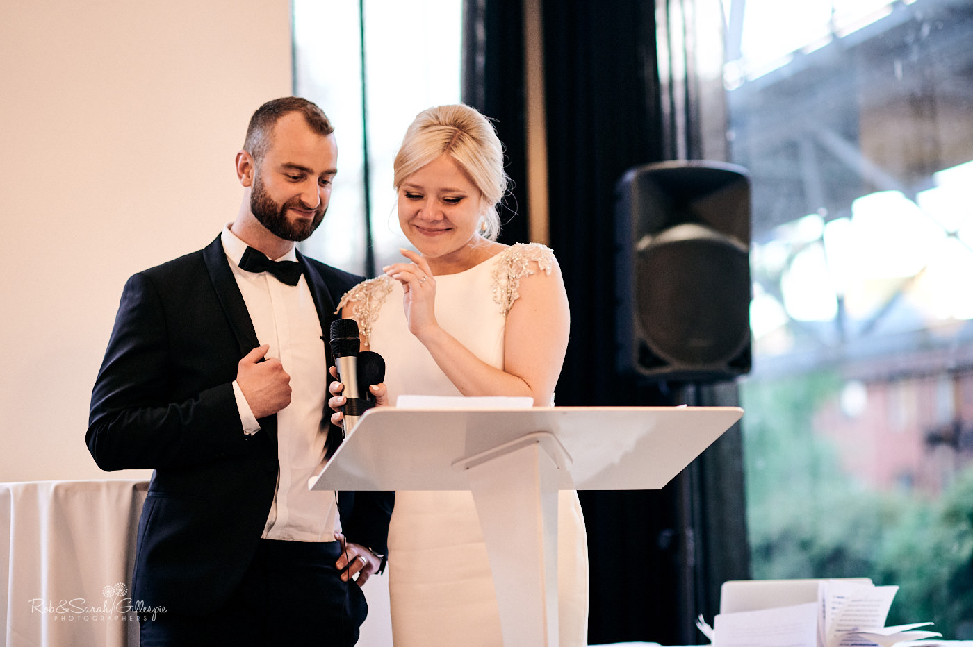 Emotional and heartfelt wedding speeches at Canalside wedding venue at The Cube in Birmimgham