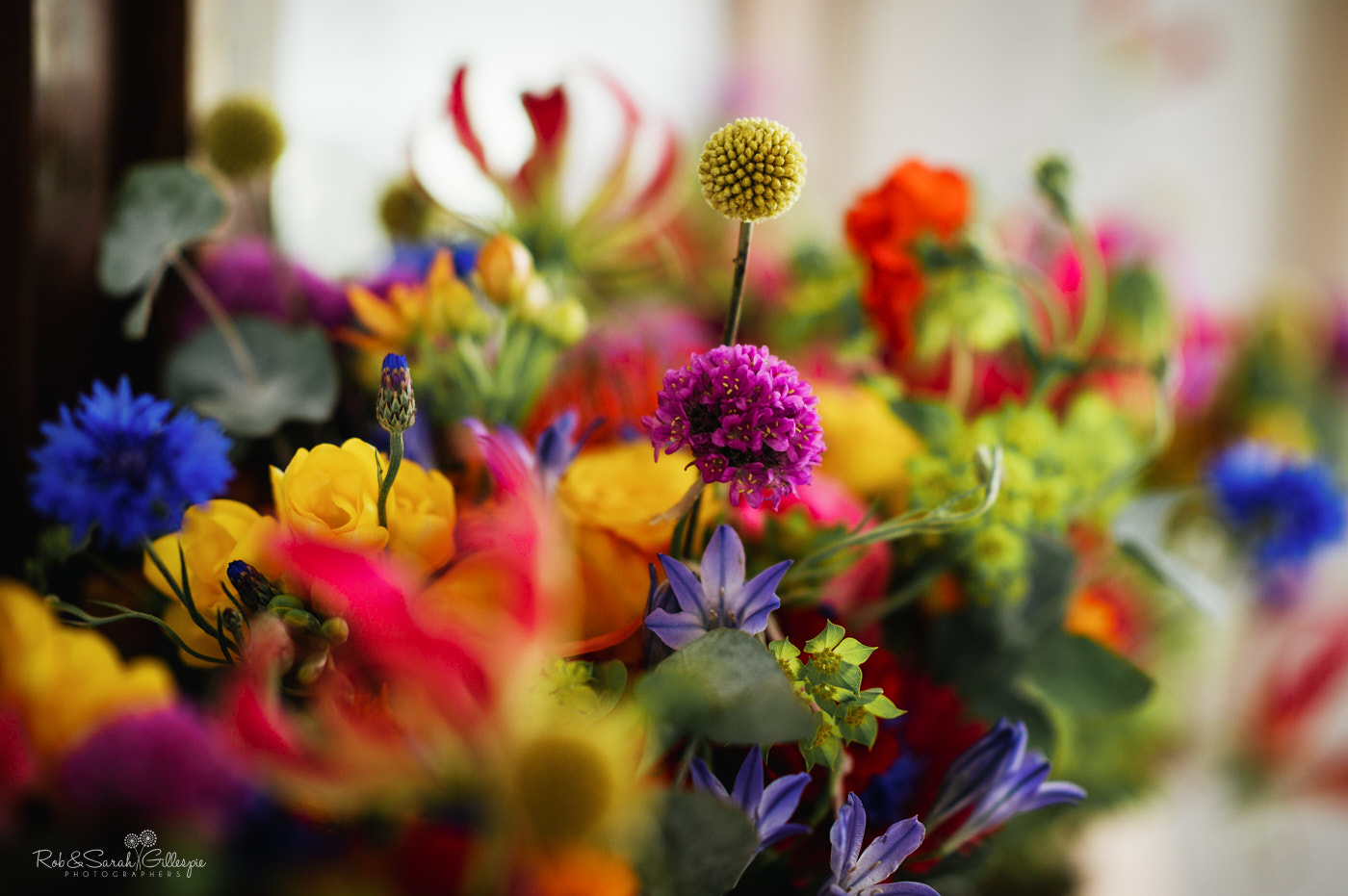 Beautiful bridal flowers with many different colours