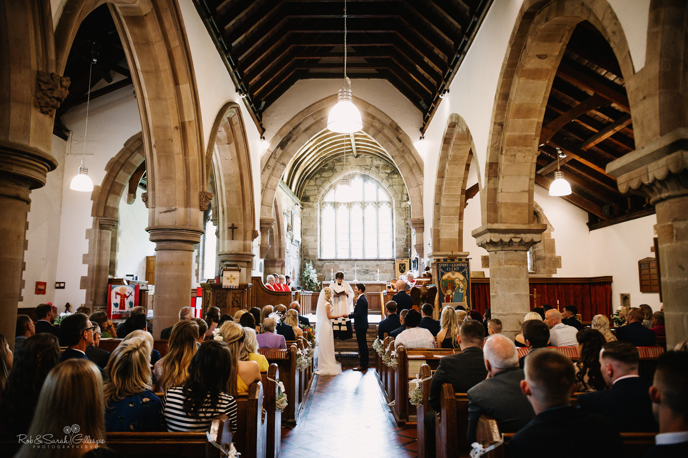 Wedding ceremony in St Leonar'ds church in Clent, Worcestershire