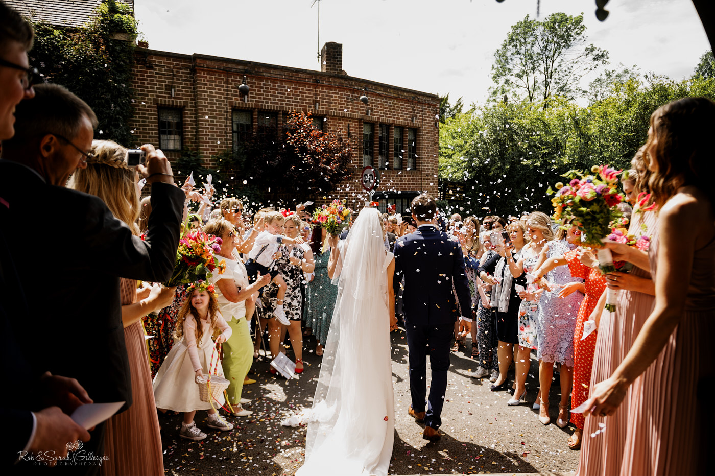 Confetti thrown at wedding in Clent, Worcestershire
