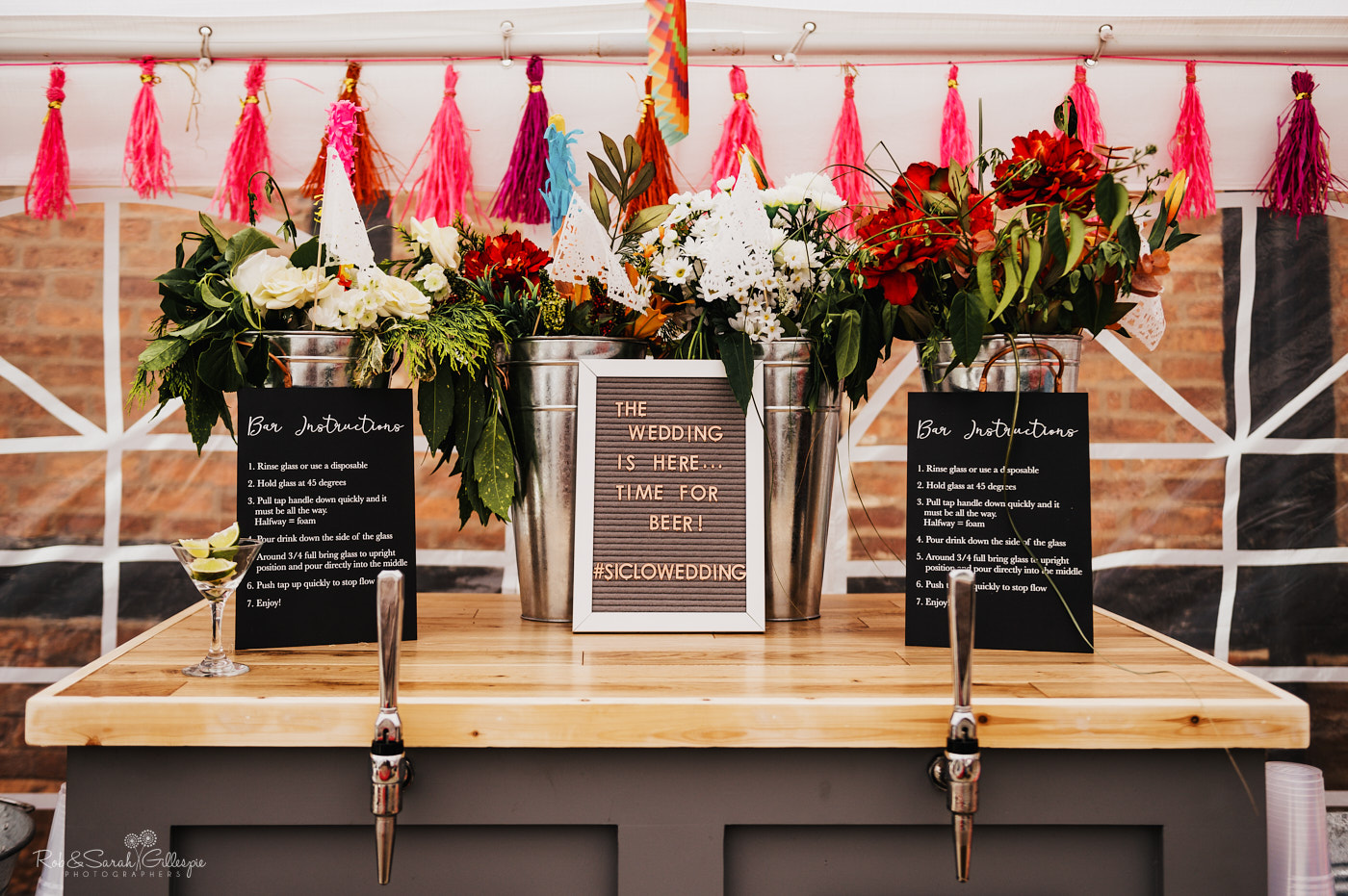 Beer bar at wedding reception at village hall in Belbroughton, Worcestershire