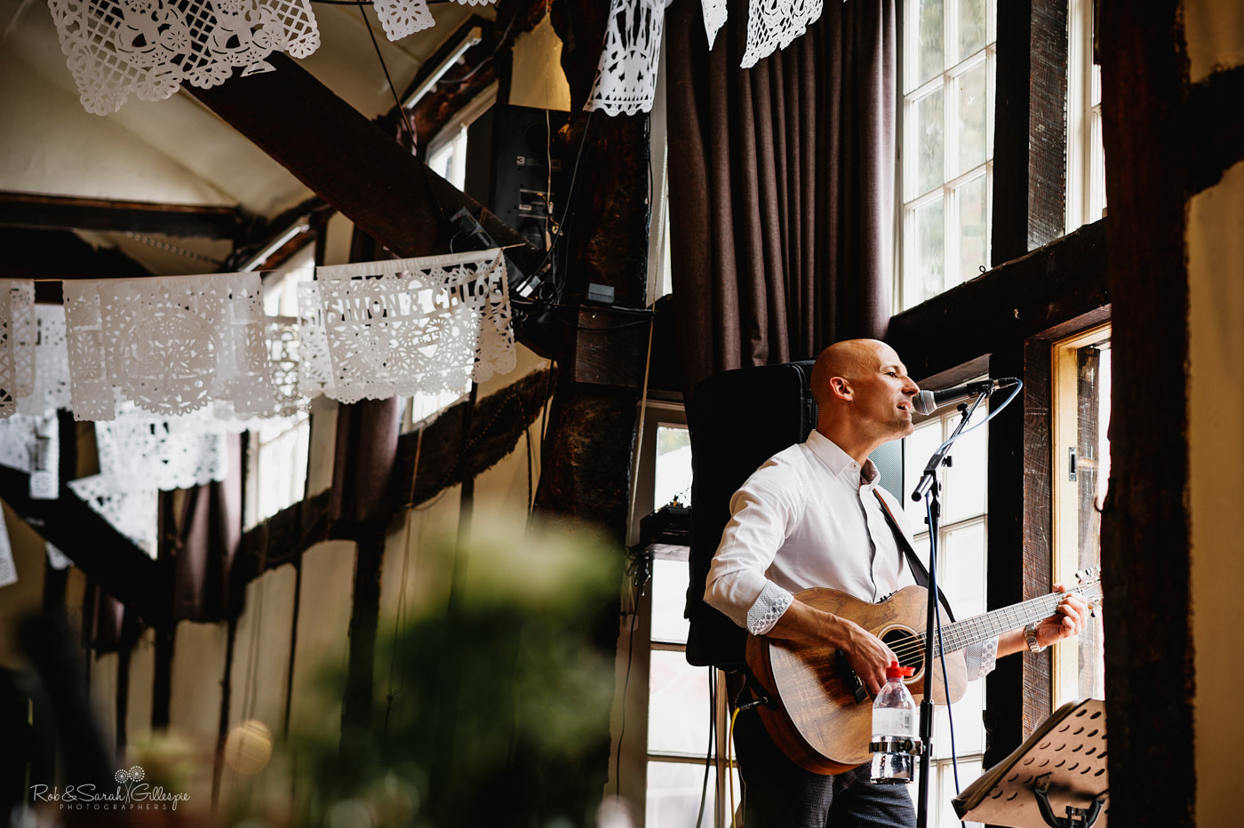 Musician plays at wedding reception at Belbroughton village hall