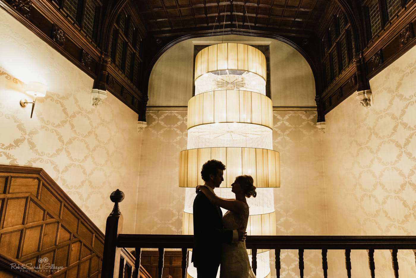 Bride and groom with beautiful light at Hampton Manor