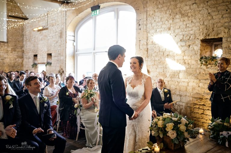 Bride and groom get married in ceremony at Lapstone Barn