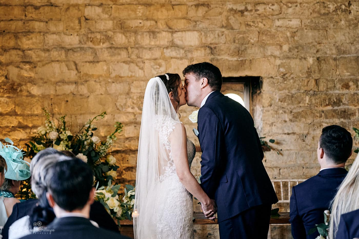 First kiss at Lapstone Barn wedding