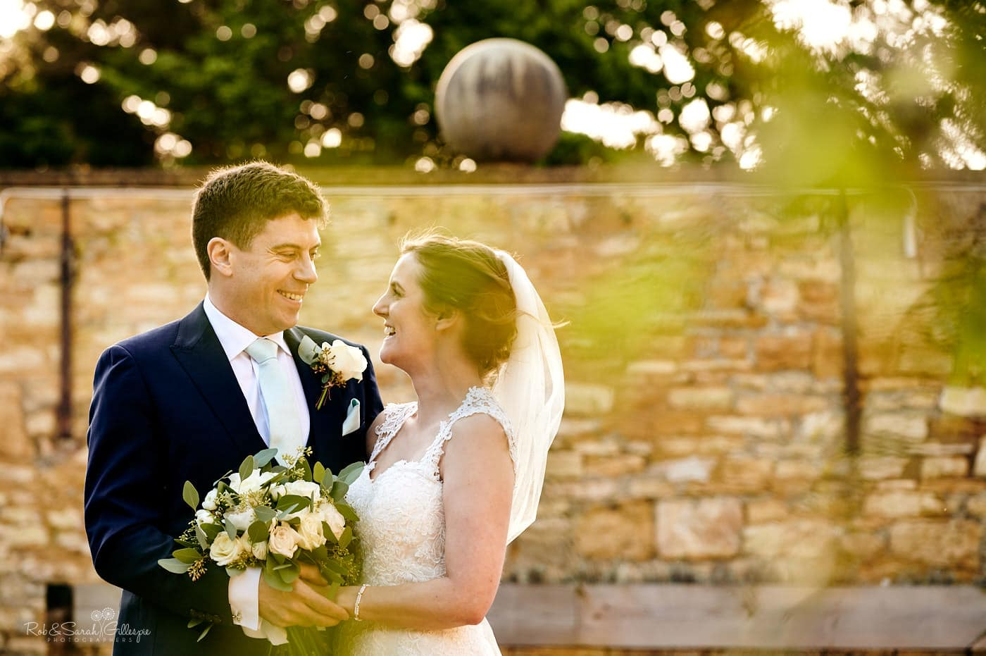 Wedding photograph of bride and groom at Lapstone Barn