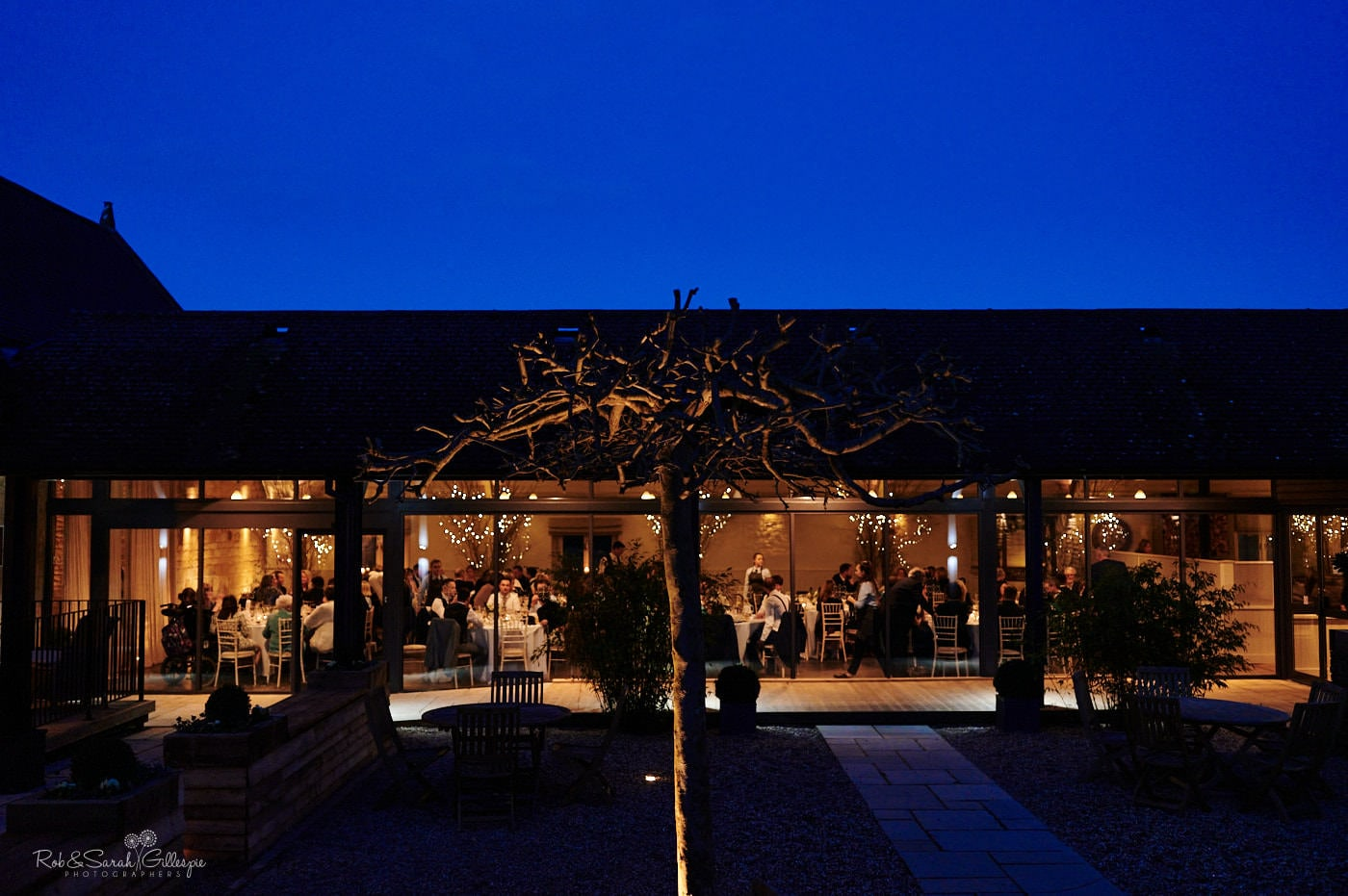 Lapstone Barn courtyard at night