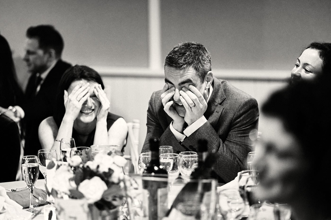 Wedding guests react to speeches