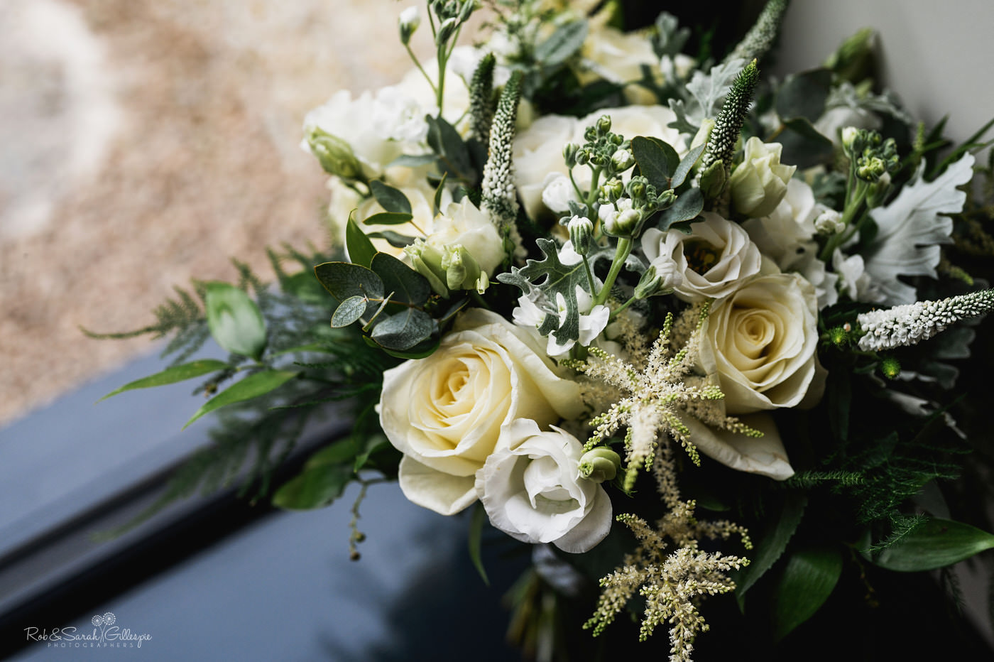 Bridal bouquet in window light