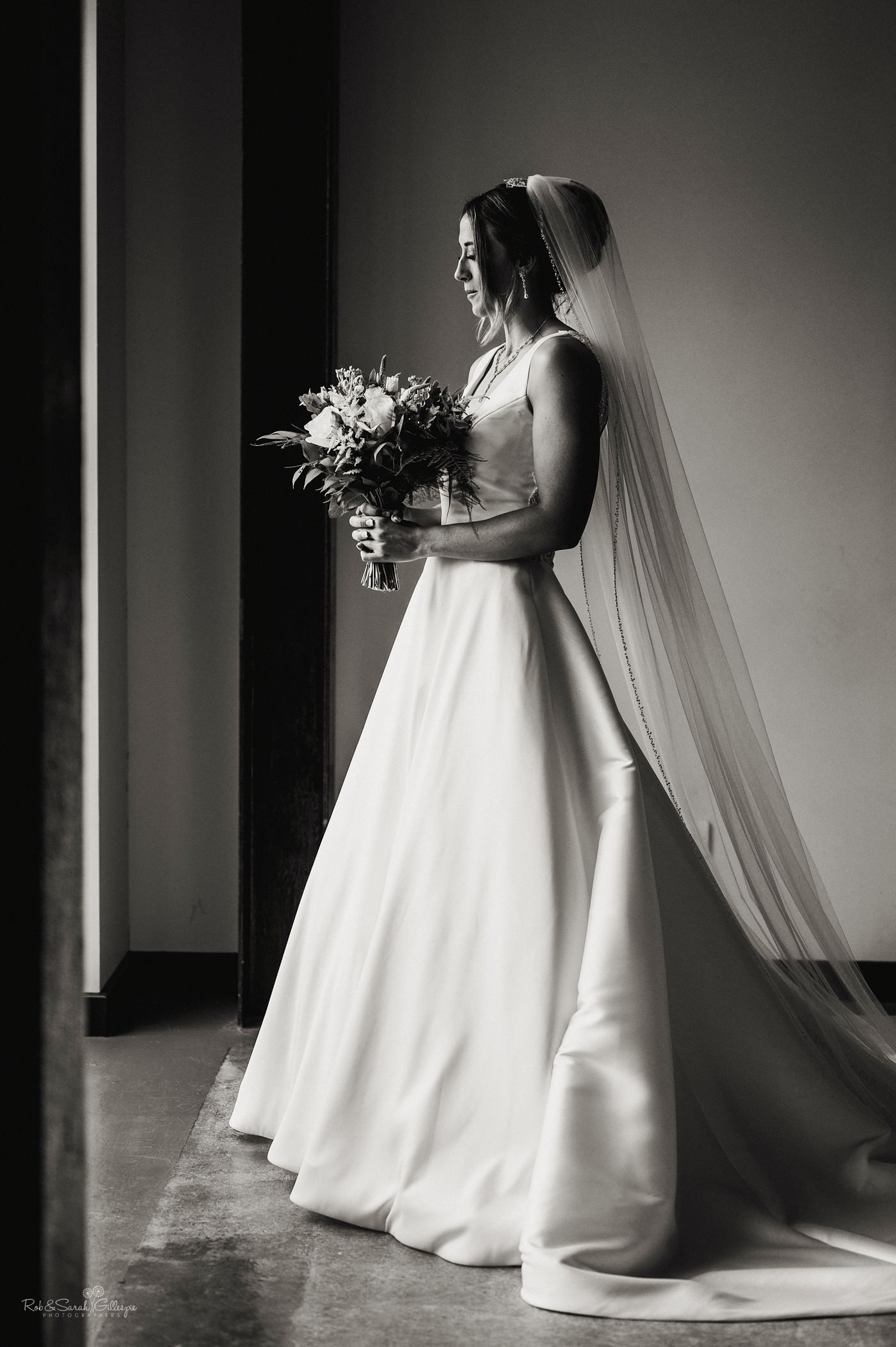 Portrait of bride at The Mill Barns. Beautiful Mill Barns wedding photography