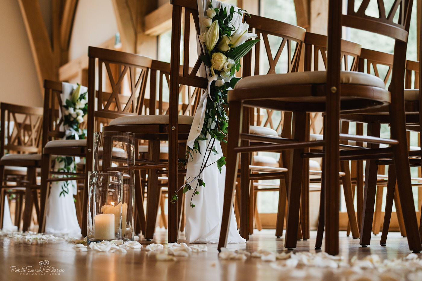 Flowers on chairs at The Mill Barns wedding venue