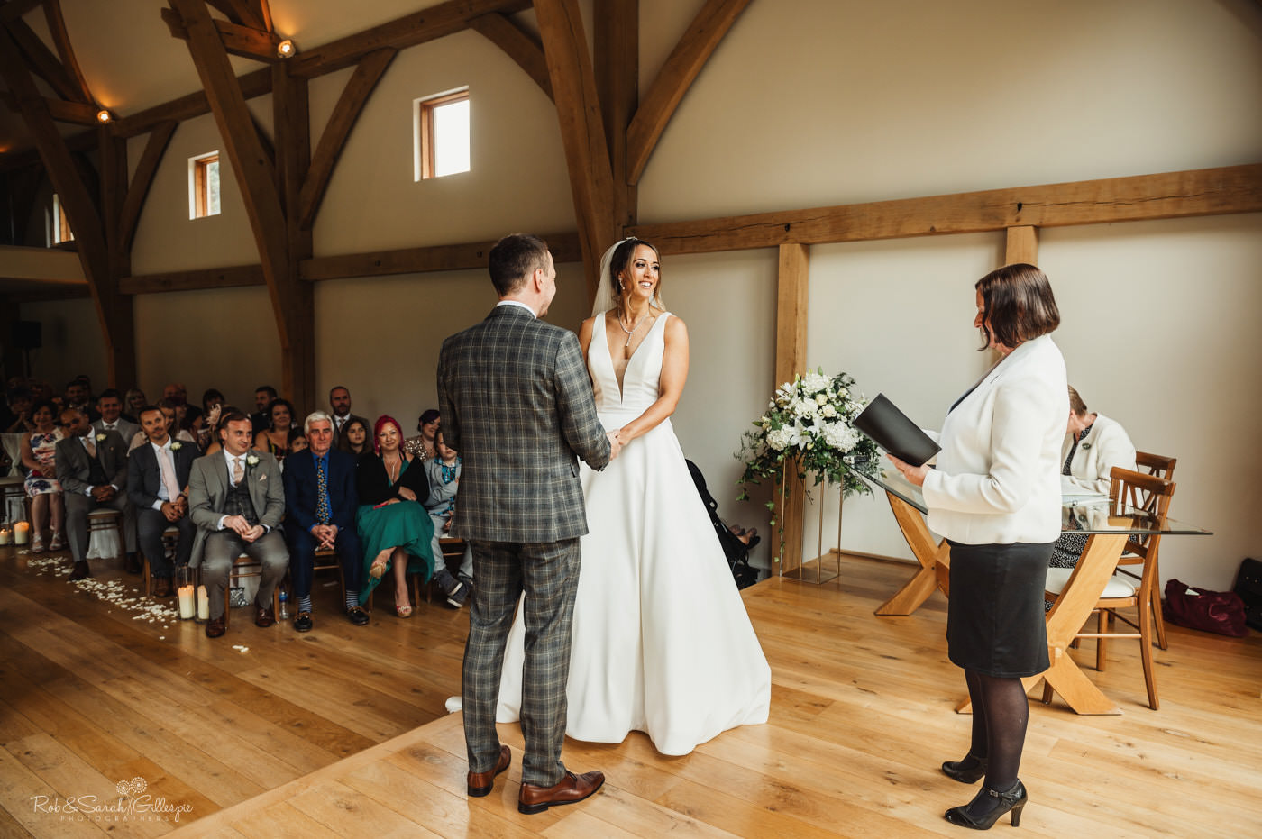 Wedding ceremony at The Mill Barns in Shropshire