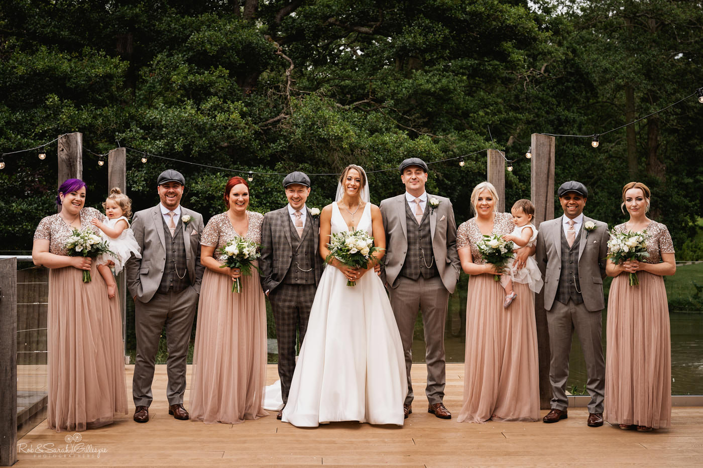Wedding group photo at The Mill Barns