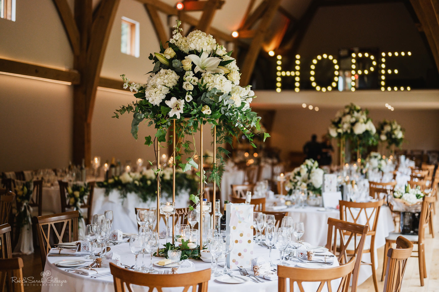 Wedding meal details with floral centrepieces