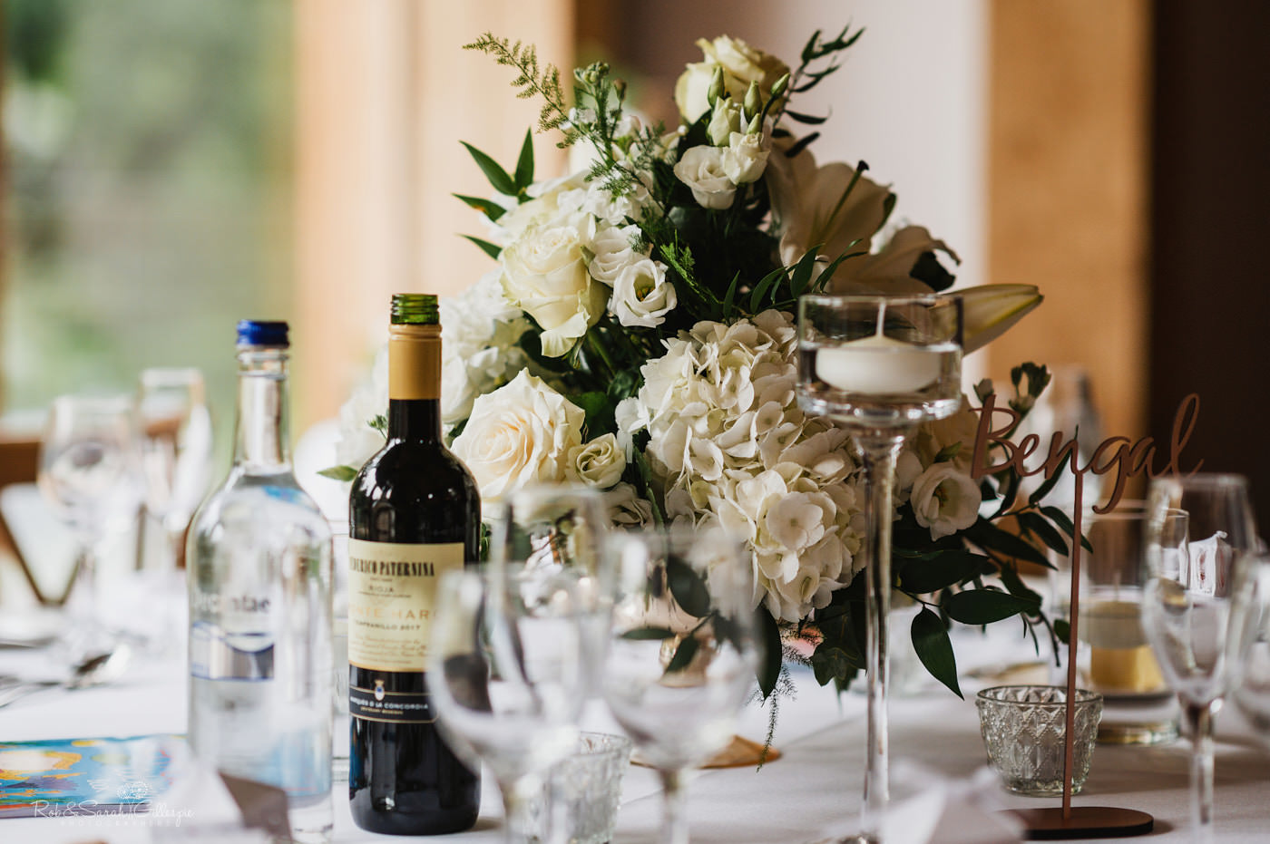 Wedding breakfast details at The Mill Barns