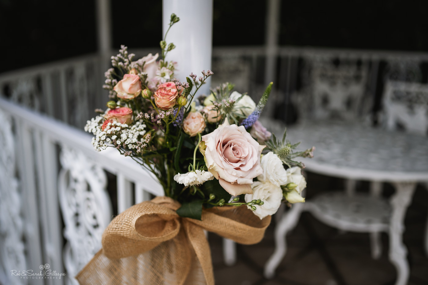 Flowers for outdoor wedding at Pendrell Hall