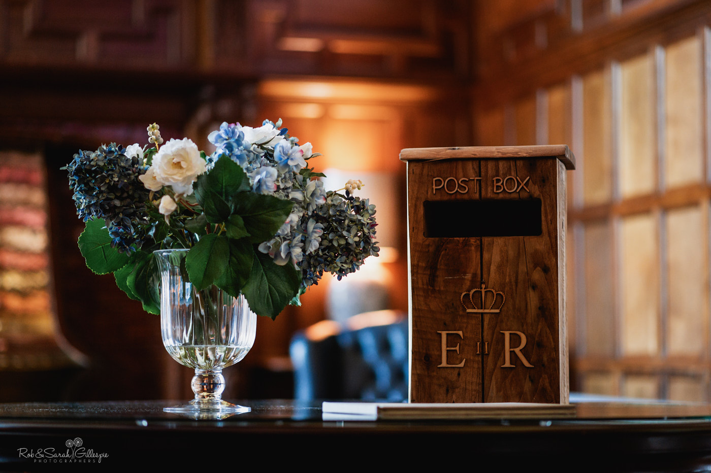Wedding flowers and postbox at Pendrell Hall