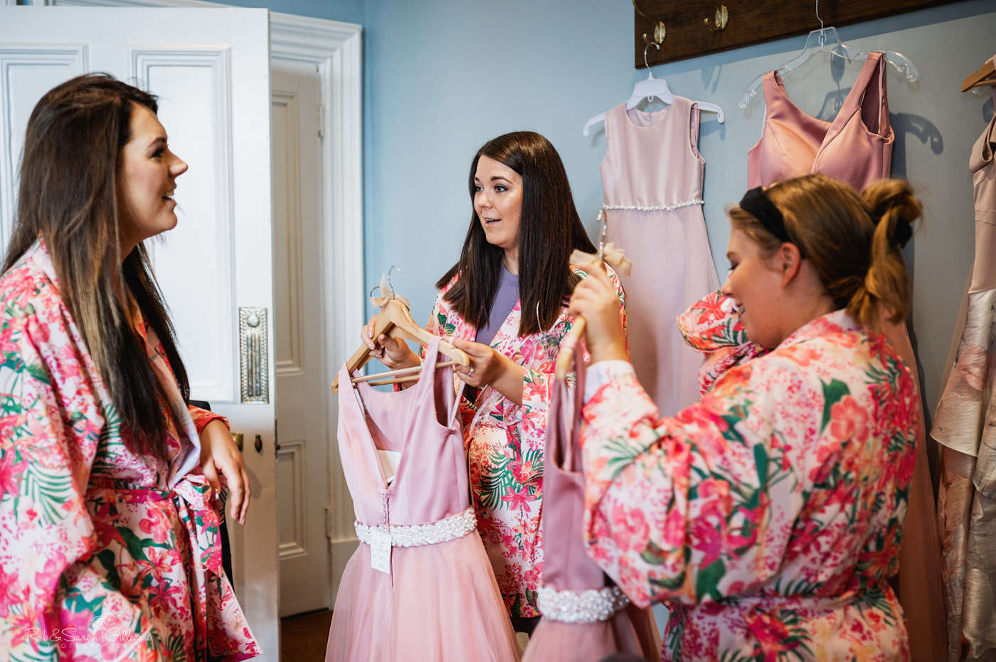 Bridesmaids prepare for wedding at Pendrell Hall