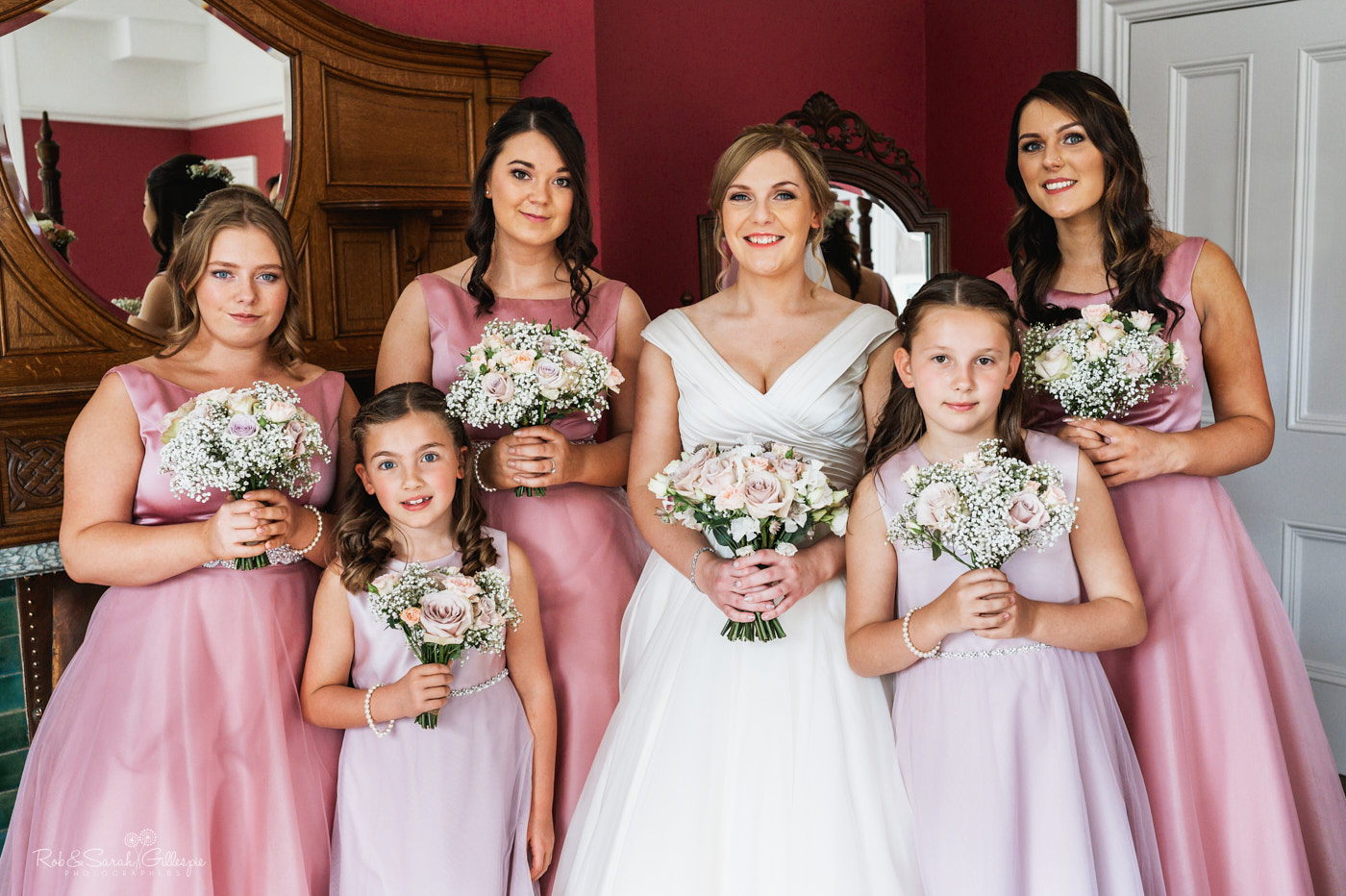 Bride and bridesmaids group photo at Pendrell Hall