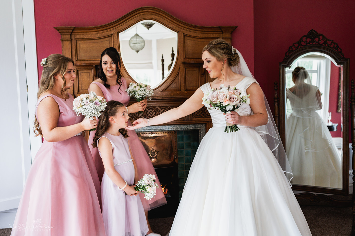 Bride and bridesmaids at Pendrell Hall