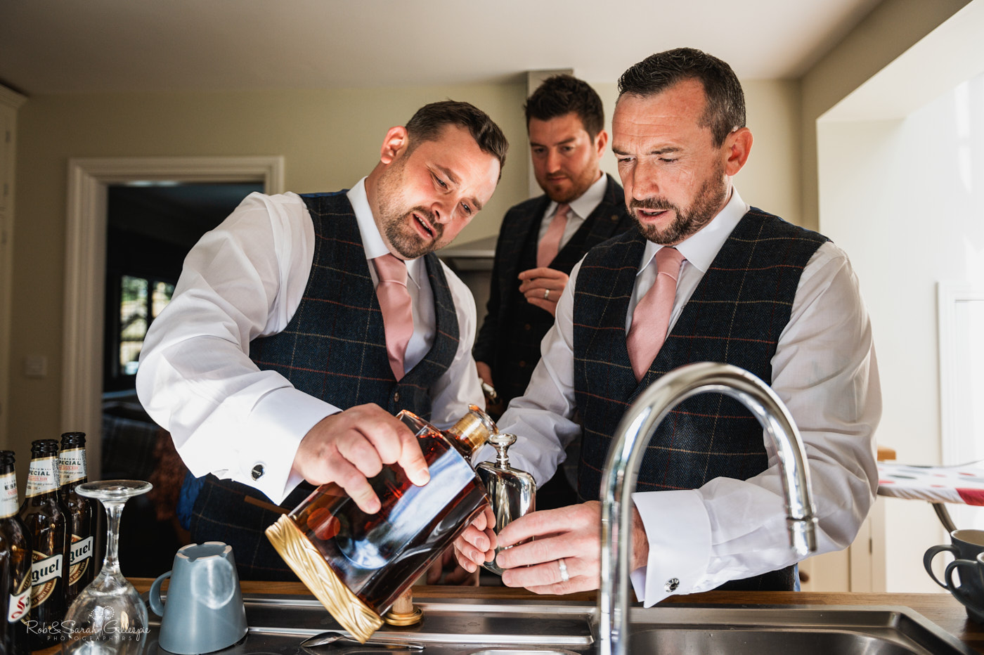Groom and groomsmen prepare for wedding at Pendrell Hall
