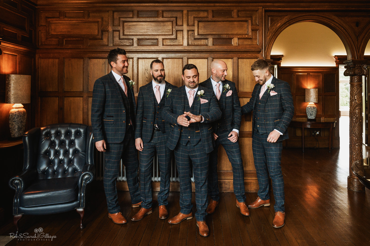 Groom and groomsmen portrait at Pendrell Hall