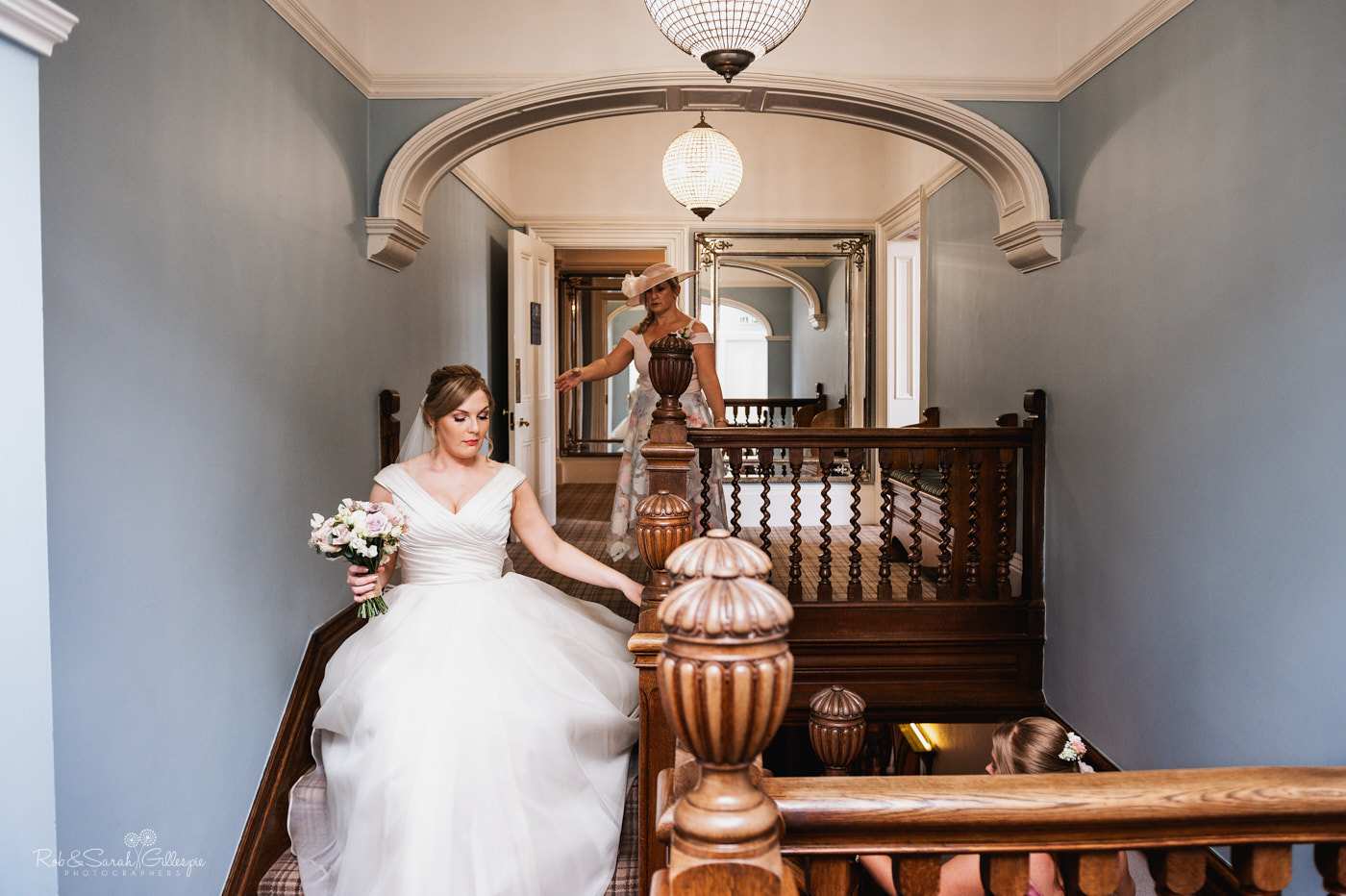 Bride on staircase at Pendrell Hall