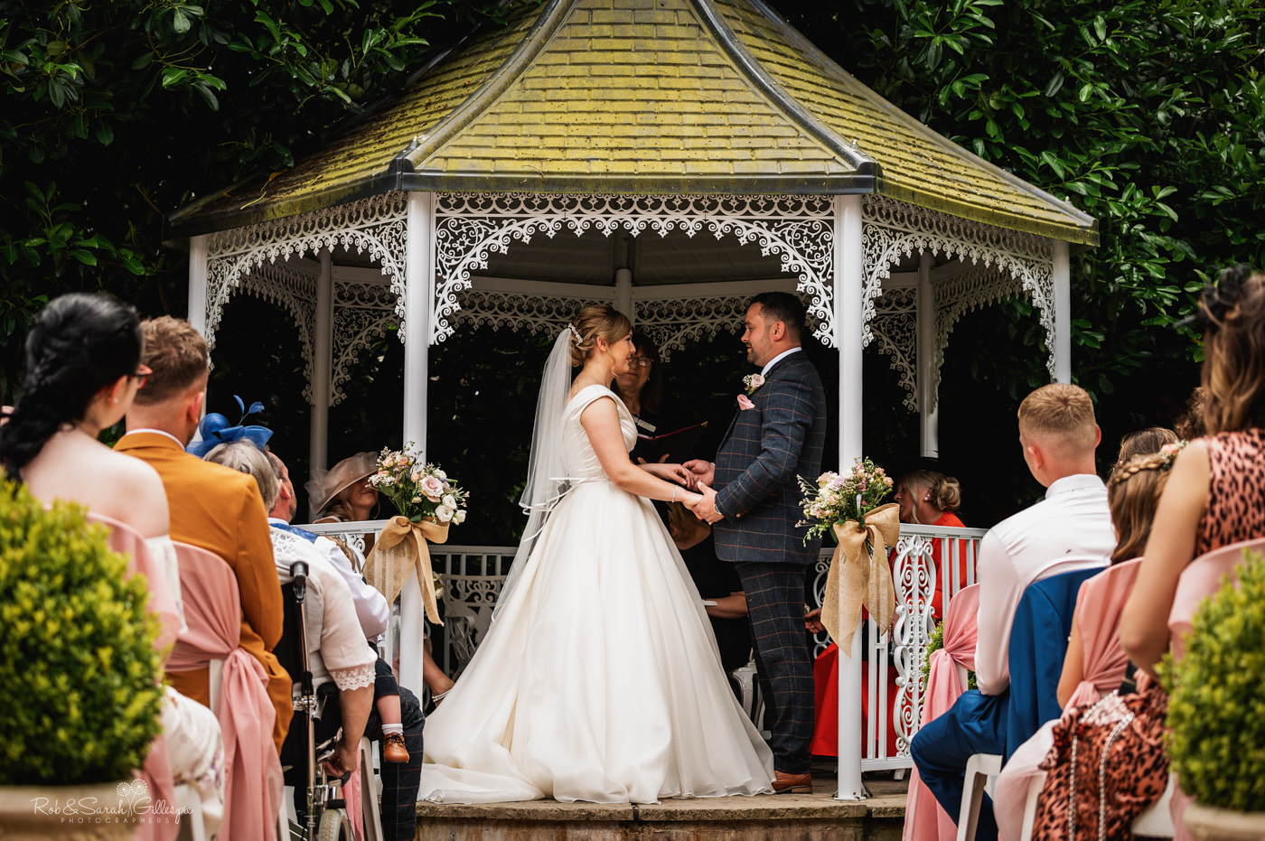 Outdoor wedding ceremony at Pendrell Hall in Staffordshire
